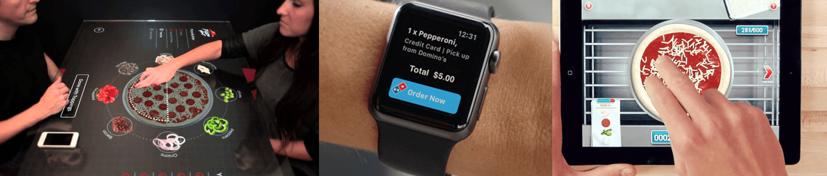 pizza chain technology mobile order drones Apple watch
